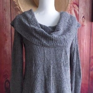 Anthropologie Moth Gray Cowl Neck Sweater S